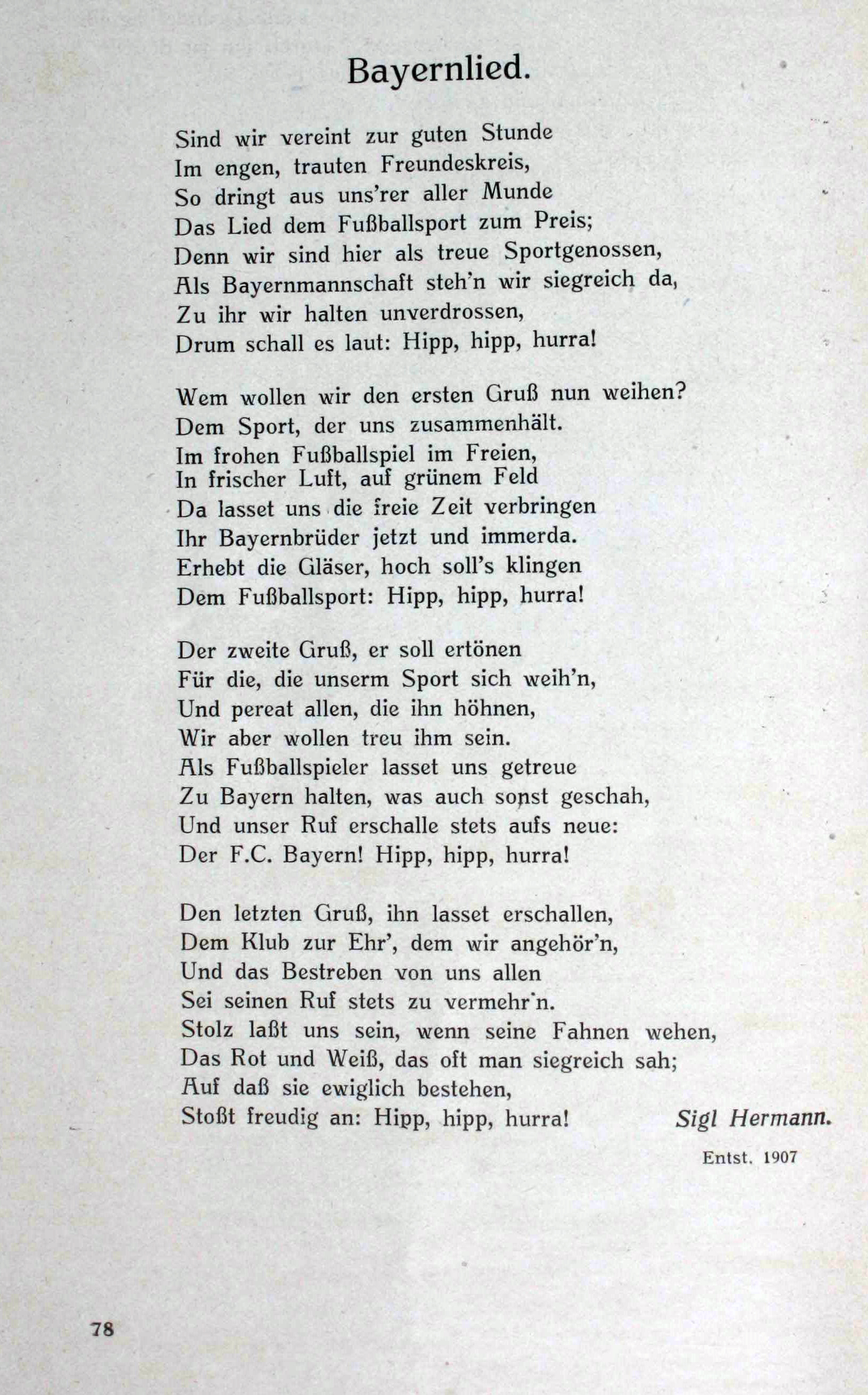 Bayernlied. [Chronik 25 Jahre FC Bayern München]